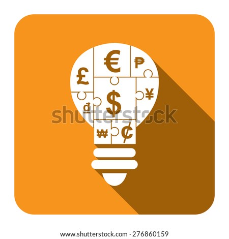 Yellow Square Various Currency Sign Puzzle in Light Bulb Flat Long Shadow Style Icon, Label, Sticker, Sign or Banner Isolated on White Background - stock photo