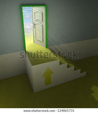 yellow staircase doorway passage with arrow and flare illustration