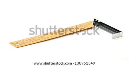 Yellow steel angle tool on white background - stock photo