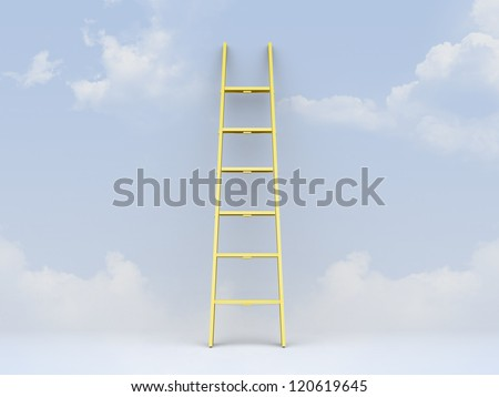 Yellow step ladder leaned against clear, cloudy weather. - stock photo