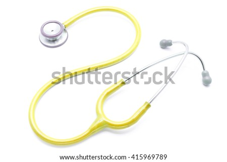 yellow stethoscope isolated on white background