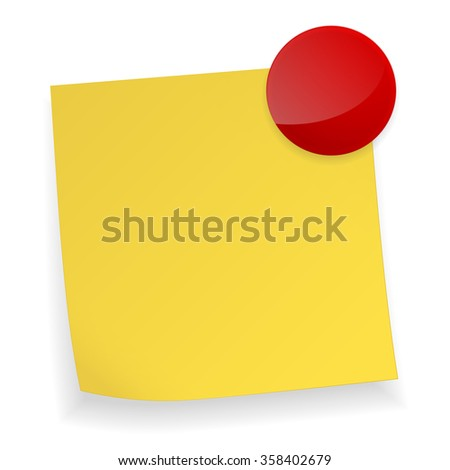 Yellow stick note and magnet.  Raster version. Illustration isolated on white. - stock photo