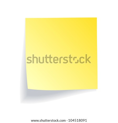Yellow stick note on white background - stock photo