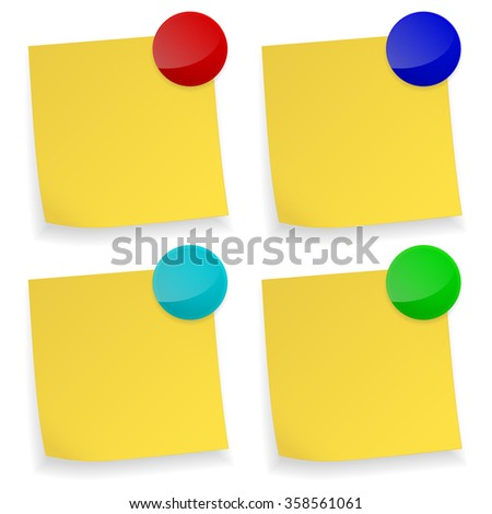 Yellow stick note. Set with colored magnet.  Raster version. Illustration isolated on white. - stock photo