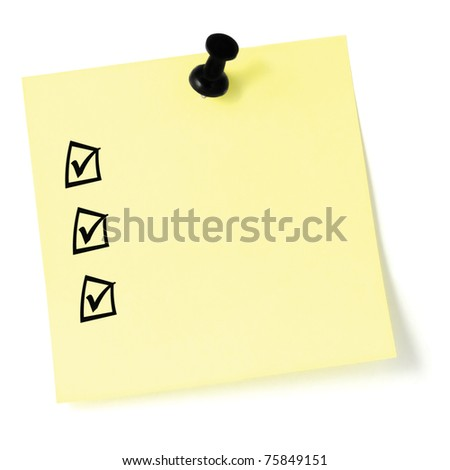 Yellow sticker checklist, black check boxes and tick marks, thumbtack pushpin isolated, blank post-it to-do list sticky note - stock photo