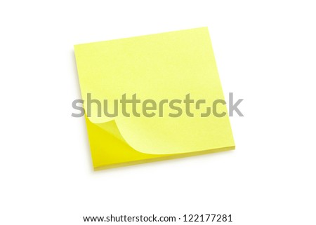 Yellow sticker note block isolated on white, clipping path included - stock photo