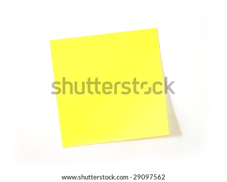 Yellow sticker note on white background