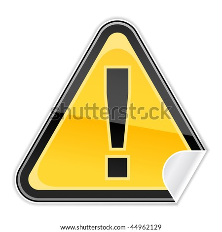 Yellow sticker warning hazard attention sign with exclamation mark and curved corner on white background. Bitmap copy my vector ID: 40201720 - stock photo