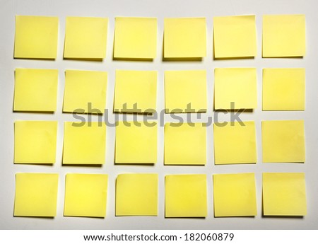 Yellow sticks note on white background, photo - stock photo