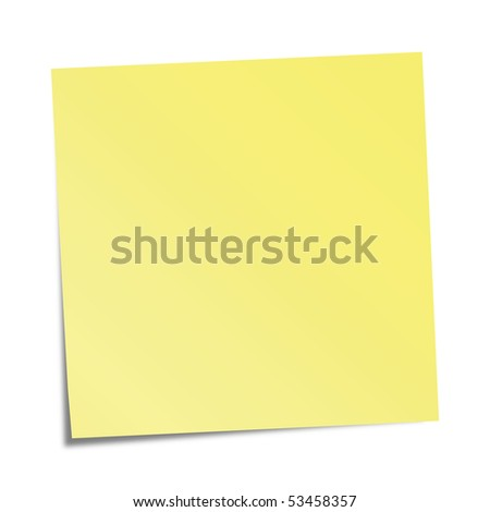 Yellow sticky note - stock photo