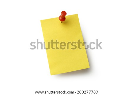 Yellow sticky note and push pin on white with clipping path. - stock photo