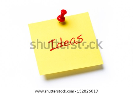 Yellow sticky note isolated on a white background with the word Ideas