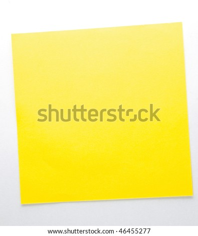 Yellow sticky note isolated on the white background