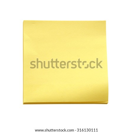 Yellow sticky note on white background (clipping path) - stock photo