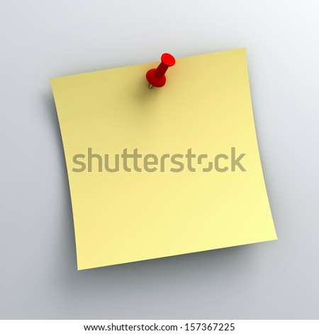 Yellow sticky note paper with red push pin on white background with shadow - stock photo