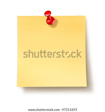 yellow sticky note paper with thumb tack isolated on white background - stock photo