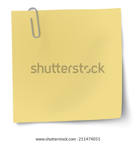 Yellow sticky note with paper clip. Raster version illustration. - stock photo