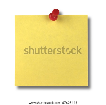 Yellow Sticky Note with Path - stock photo