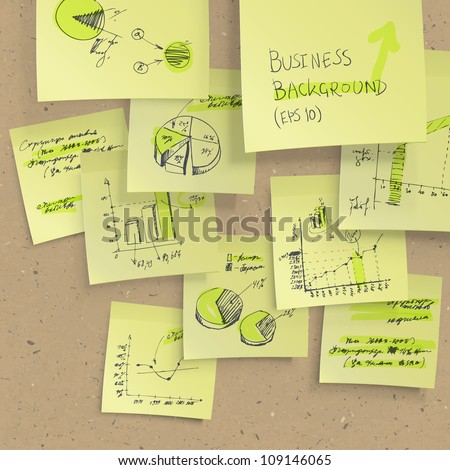 Yellow sticky notes with business infographics on cork board, closeup. All elements editable (available under clipping mask). Raster version, vector file available in portfolio - stock photo