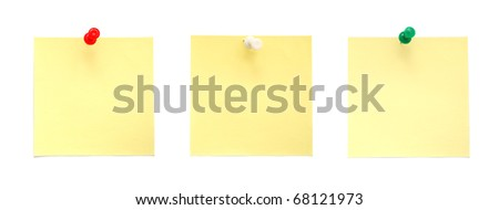 Yellow sticky notes with pushpins - stock photo