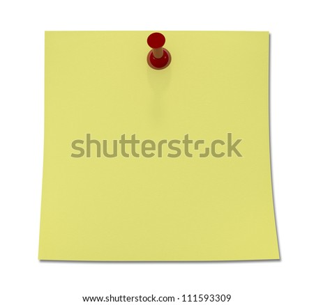 Yellow Sticky Notes with Red Push Pin - Isolated on Background - stock photo