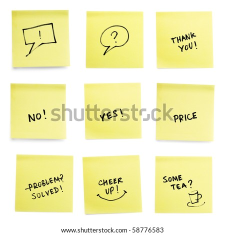 Yellow sticky papers set with some trendy slogans. Isolated on white background. - stock photo