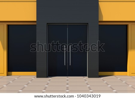 Yellow store facade - modern yellow shop front 3D render