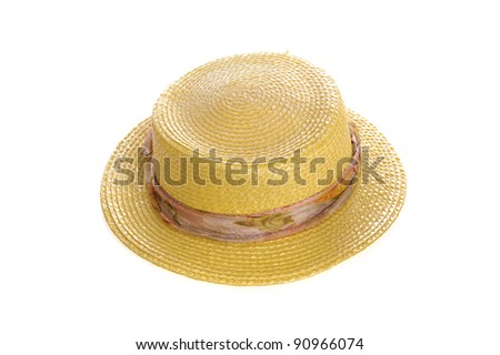 Yellow straw hat . isolated on white