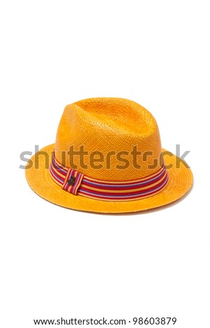 yellow straw hat with ribbon isolated on white background - stock photo