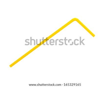 yellow straw on white background - stock photo