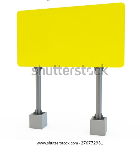 yellow street advertizing  billboard on racks with the concrete bases - stock photo