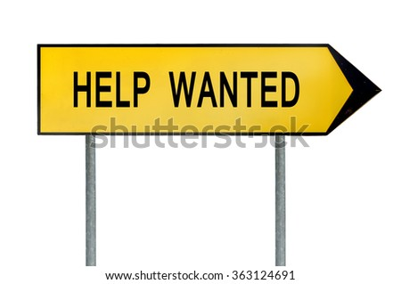 Yellow street concept help wanted sign - stock photo