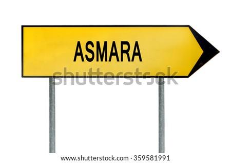 Yellow street concept sign Asmara isolated on white - stock photo