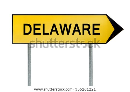 Yellow street concept sign Delaware solated on white - stock photo