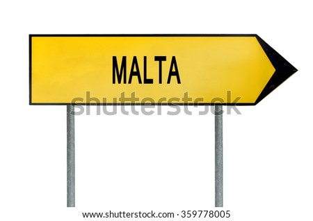 Yellow street concept sign Malta isolated on white