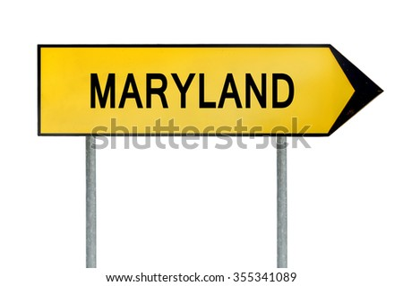 Yellow street concept sign Maryland isolated on white - stock photo
