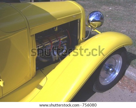yellow street rod and tires - stock photo