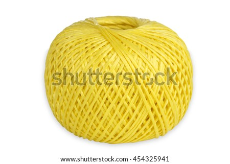 Yellow String isolated on white background - stock photo