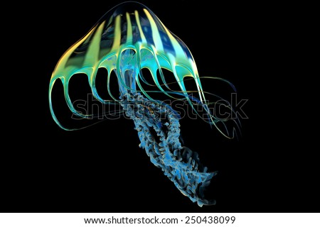 Yellow Striped Jellyfish - The Jellyfish is a predator of the seas and captures its fish prey with poisonous stinging tentacles. - stock photo
