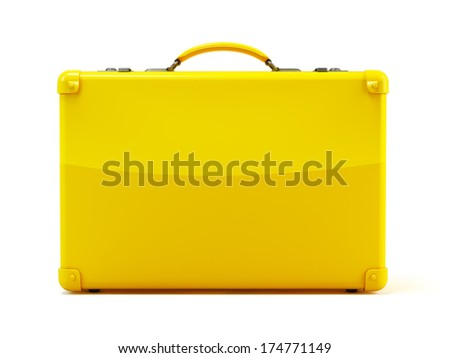 Yellow suitcase isolated on a white background  - stock photo