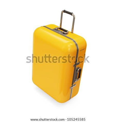 Yellow Suitcase isolated on white background - stock photo