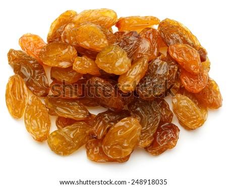 Yellow sultanas raisins isolated on white background cutout - stock photo