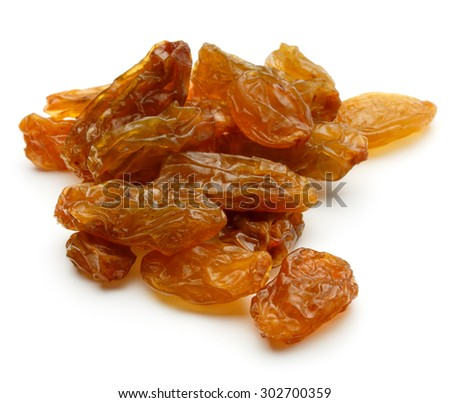 Yellow sultanas raisins isolated on white background cutout - stock photo