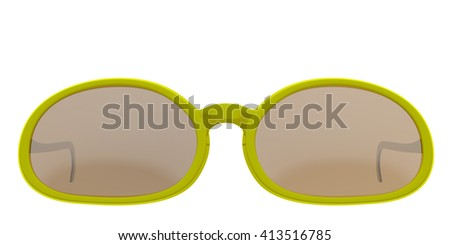 Yellow sun glasses isolated on white background. Include clipping path. 3D render - stock photo