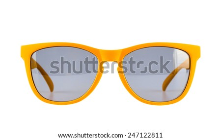 Yellow sun glasses isolated over the white background - stock photo