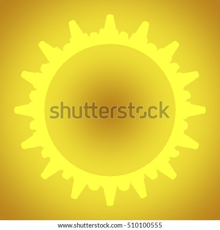 Yellow sun on a yellow background