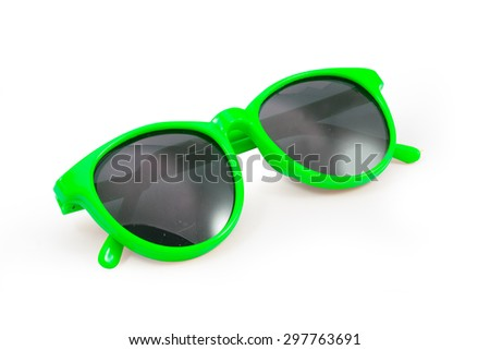 Yellow sunglasses isolated on white background,  file includes a excellent clipping path - stock photo