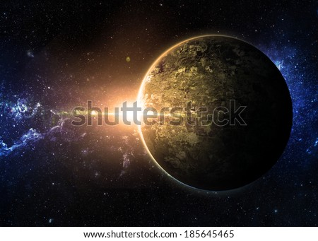 Yellow Sunrise over Lone Planet- Elements of This Image Furnished By NASA  - stock photo