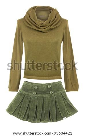 yellow sweater and skirt - stock photo