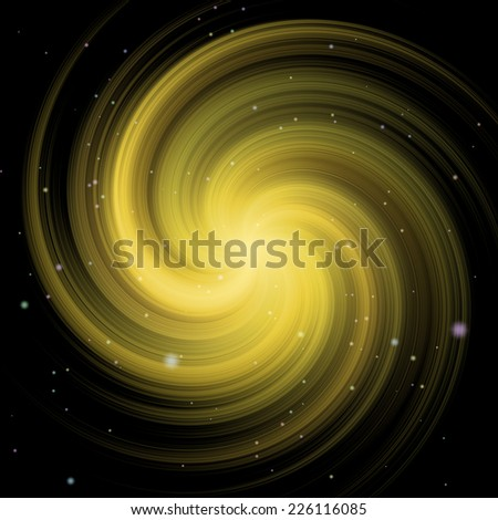 Yellow swirl (galaxy) illustration in space with stars - stock photo